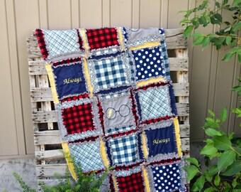 Magic Blanket Wizard Nursery - Navy / Yellow / Grey / Red Crib Bedding - Rag Blanket Boy Quilt - Nursery Bedding Boy - Plaid Crib Bedding