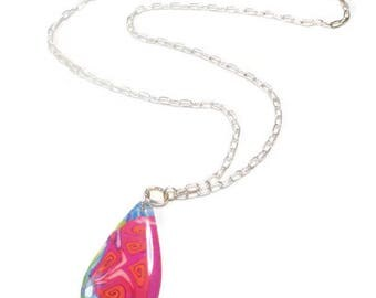 Teardrop Multicolor Necklace- Modern Statement Necklace- polymer clay Pendant Silver Necklace Gifts for Her Birthday