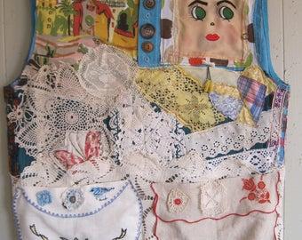 LOT VINTAGE LINENS Fabric Collage Clothing - Wearable Folk Art  - Antique Crochet Embroidery Needlepoint -   myBonny random scraps