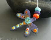 Handmade torch fired enameled component |  dragonfly shaped charm  | pendant   |  made by Silke Buechler