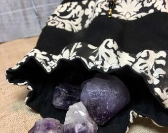 Black and White Tall Stripy Pouch Drawstring Bag
