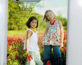 Girls Sewing Pattern Violette Field Threads Lucy Capri and Full Length Pant with Ruffle Boutique Size 2T 3T 4T 5 6 7 8 10 UNCUT