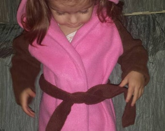 OWL clothing toddler robe PINK and brown handmade in super soft fleece FREE shipping