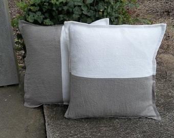 Linen Colorblock Pillows Custom Linen Pillow Shams White Linen Pillow Covers Decorative Pillows Natural Linen Bed Pillows Set of 2
