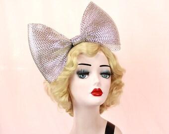 Giant Silver Metallic Bow Headband, Alice Band, Adjustable, Giant Bow, Halloween Costume, Womens Hair Accessory,  Gold Fascinator