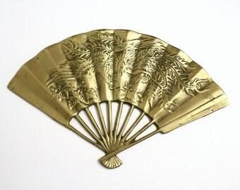 Vintage Brass Fan Decoration with Ornate Phoenix Motif