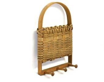 Woven Basket Wall Hanging with Wooden Handle & Three Pegs