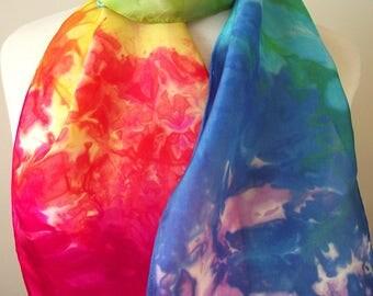"Hand Dyed Silk Neck Scarf, 8x54"" -  Bright Rainbow Asymmetric Colors, Turquoise, Blue, Fuschia, Yellow, Green"