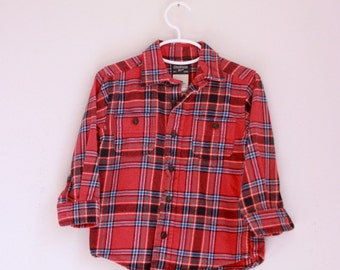 Vintage Oshkosh children's red flannel shirt 3t