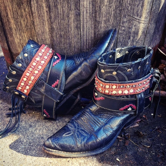 Bohemian Gypsy Cowgirl Boots. Reworked Leather Boots. Black Upcycled Boots. Women's Size US 7M // Ready to Ship