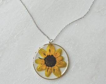 Black Eyed Susan Pressed Flower Necklace Pressed Flower Jewelry Botanical