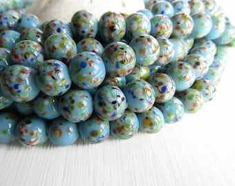 Blue Round lampwork Glass beads, round turquoise opaque glossy base, multicolored speckled design, supplies indonesia 8-9mm (16 pcs) 6CB12-3