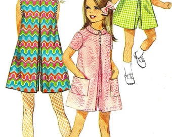 Child's Pantdress Pattern 1960s Mod Children's Inverted Pleat Children's Vintage Sewing Simplicity Girl's Size 8