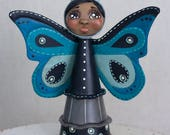 Sweet Hand Painted Anthropomorphic Butterfly Folk Art Doll in Shades of Blue and Black with Quilted Wings, Wire Antennae OOAK