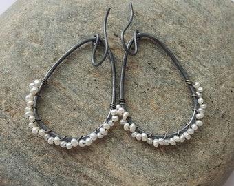 Pearl Earrings Pearl Wrap Earrings Sterling Silver Hoop Earrings Oxidized Silver Earrings Tiny Pearl Earrings Bohemian Earrings