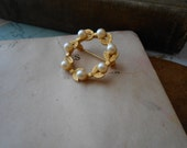 bright gold leaf and pearl wreath brooch - vintage antique costume jewelry