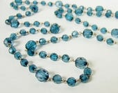 Long Sparkly Bead Necklace - Faceted Blue Beads with Chain Links - Vintage Flapper Necklace, 60s does 20s