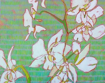 "Abstract Floral Giclee Art Print by Shelley Detton, ""White Orchids on Green"" Impressionist Painting White Flowers, Home Decor Fine Art Print"