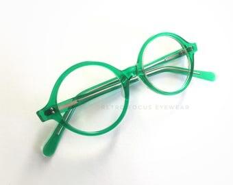360 Round Green Eyeglass Frames NOS  1960's Vintage Mod Eccentric Prescription Eyewear Eyeglasses OOAK USA