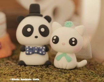 Panda and Cat/Kitty Wedding Cake Topper