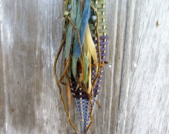 Blue Wall Basket with Natural Embellishments  by Marcia Whitt