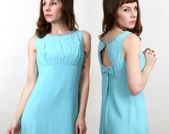 SALE 1960s Open Back Dress . Robins Egg Blue