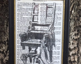 Old Sparky | FOLK FILTH bible page art | electric chair morbid death goth gothic framed collage printed upcycled wall art | MADE byLB