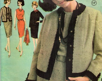 1960s Advance 3148 Vintage Sewing Pattern Misses Proportioned Slim Dress, Chemise, Cardigan Jacket, Short Jacket Size 14 Bust 34