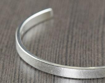 Valentine's Day gift Ships in 1 to 3 days Unisex Sterling silver cuff bracelet mens bangle bracelet satin finish bracelet for women or men