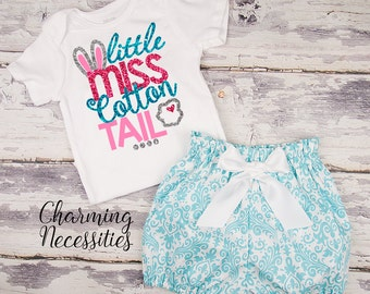 Baby Girl Easter Outfit, Toddler Clothes, Glitter Top High Waist Bloomers, Aqua Damask, Little Miss Cotton Tail Charming Necessities