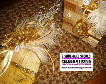 ROYAL HAPPINESS ENSEMBLE Wedding Broom and Keepsake/Bridal Box, Jumping Broom and Box