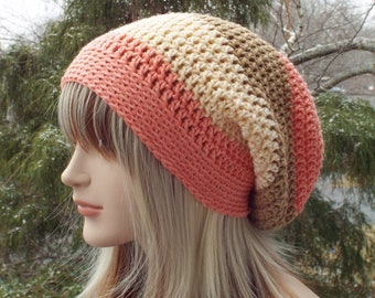 Coral and Brown Slouchy Beanie, Womens Crochet Hat, Boho Slouchy Hat, Slouch Beanie, Oversized Hipster Hat, Slouch Hat, Baggy Beanie