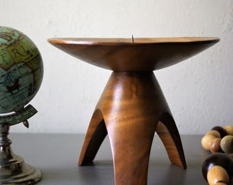Vintage Mid Century Candleholder Tripod Wooden Candle Pricket Prickett Candle Holder Wooden Pedestal Stand
