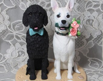 Custom Made Clay Dog Wedding Cake Topper Sculpture Labradoodle Yellow Labrador Lab Flowers Bouquet Beach