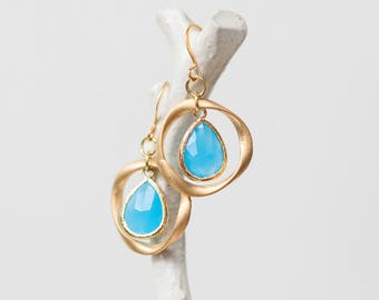 Gold teardrop earrings, ocean blue glass,  ring, unique, organic, circle, universe, nature-inspired jewelry, handmade in Santa Cruz