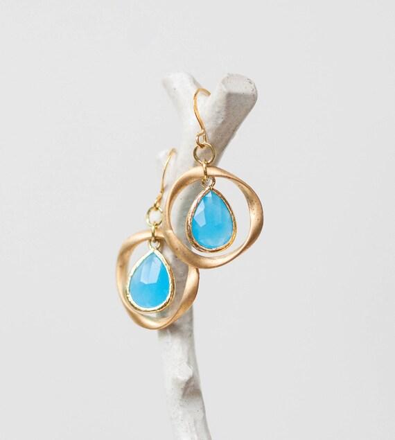 Ocean blue Gold ring earrings