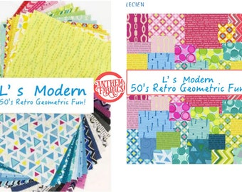 """L's Modern 50's Retro Geometric - 84 pieces - fabric layer cake - Lecien Japan 10"""" x 10"""" Origami Squares SP2015  Warm & Cool , 2 packs"""