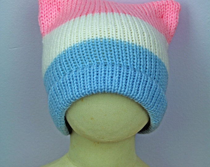Trans Pride Beanie ! Pussy Cat Kitten Hat Pink Ear Hat Humans Rights Pride Protest Trump