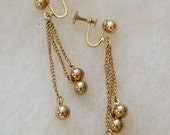Vintage Drop Earrings long chains 3 gold tone balls,  screwback, old costume jewelry