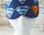 RESERVED - Travel/Sleep/Eye Mask ~ Quality Handcrafted & Light Blocking in a Blue Superman Flannel Printed Fabric ~ READY To SHIP