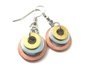 Dangle Earrings Mixed Metal Hardware Jewelry Copper, Steel and Brass Washers