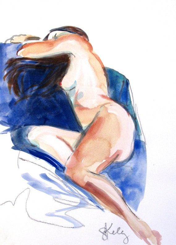 Nude painting- Original watercolor painting of Nude #1367 by Gretchen Kelly