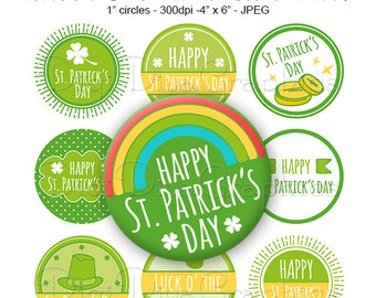 SALE - Happy St. Patrick's Day Sayings Bottle Cap Images Saint Paddy's 1 Inch Circles Digital JPG - Instant Download - BC1157