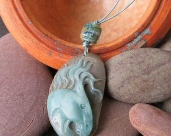 Wild Horses III - Jasper and Lampwork Necklace