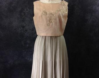 Vintage 1950's, 1960's dress Bud Kilpatrick couture pale celadon silk chiffon