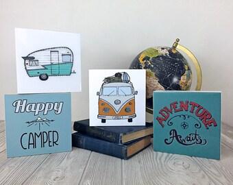 Happy Camper Glossy Art Block Series - cute wood panel prints of Shasta vintage camper trailer VW van bus