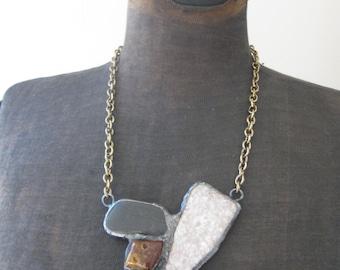 Brutalist Inspired Stone Mosaic Statement Bib Necklace