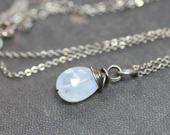 Moonstone Necklace Rustic Wire Wrapped Petite Gemstone Sterling Silver Moonstone Jewelry