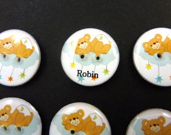 6 PERSONALIZED With Your CHILD'S NAME Bear Sewing Buttons. Customized with Your Child's Name.  Handmade by Me.