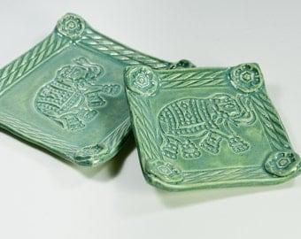 Elephant Ceramic Tray Set - Ring Dish - Trinket Tray - Spoon Rest - Tea Bag Rest - Turquoise